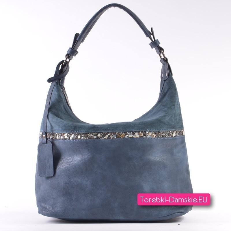 Ciemnoniebieska torebka - worek ze skóry eko i tkaniny z ozdobnymi kamyczkami