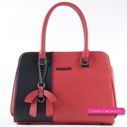 Czerwono - czarny kuferek - markowa torebka w eleganckim stylu
