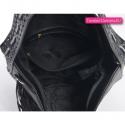Czarna torebka elegancka na ramię - worek z frędzlem