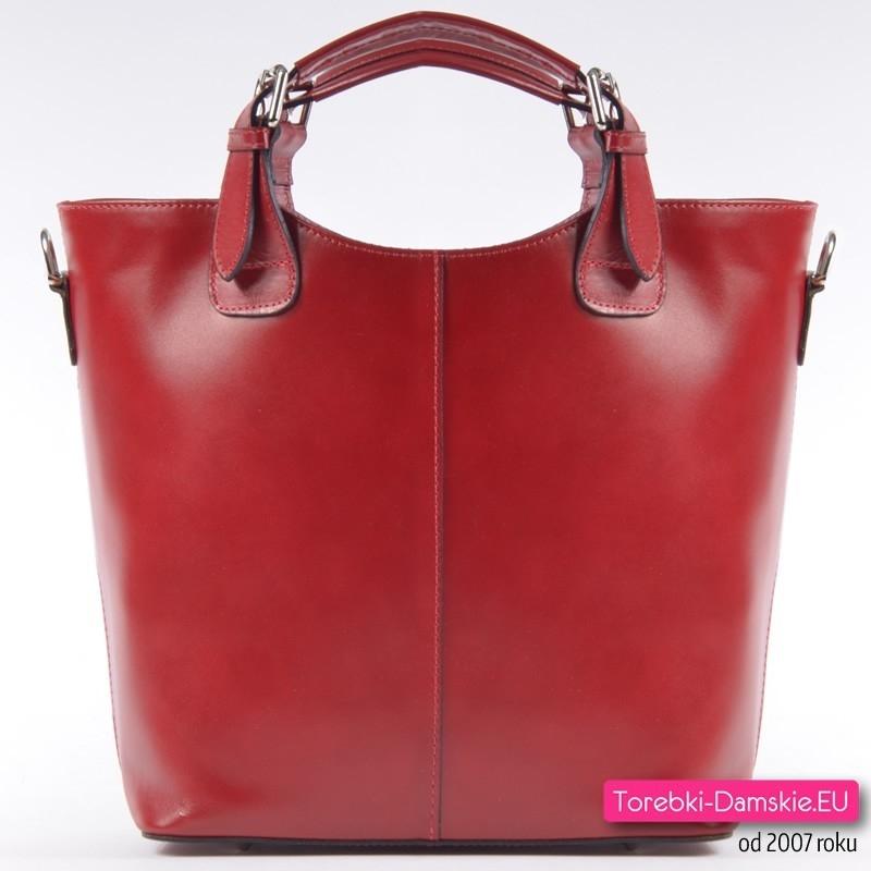 Czerwona torba skórzana typu zarka, A4, zamykana