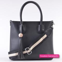 Czarna modna torba damska shopper, kosmetyczka, czarno-biały pasek w komplecie
