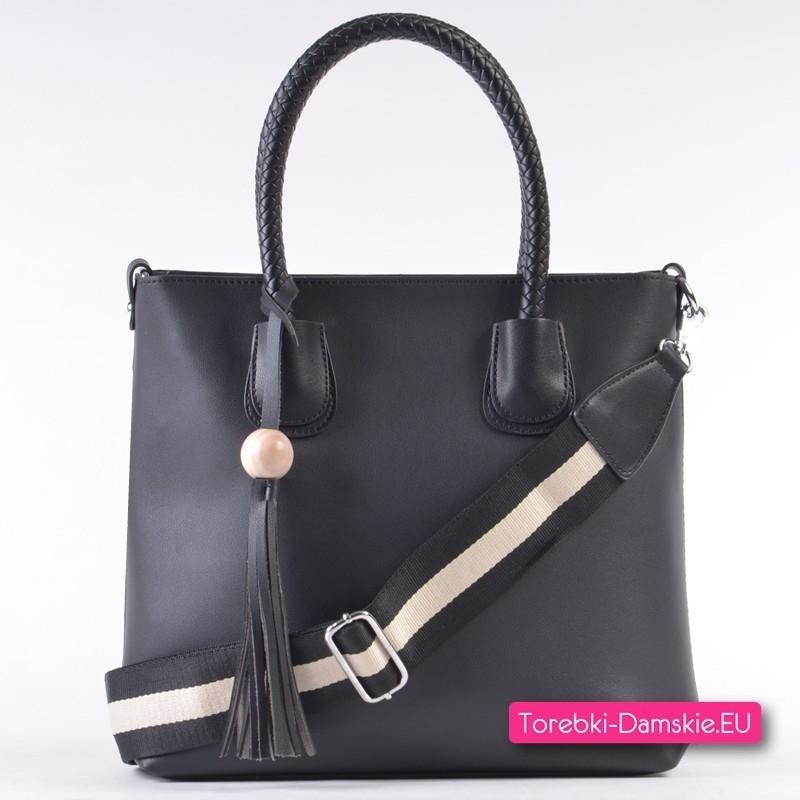 9726552033595 Czarna modna torba damska shopper