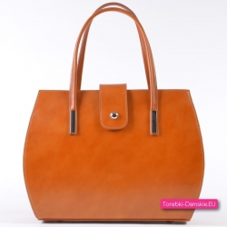 Jasnobrązowa ruda/karmelowa torebka ze skóry naturalnej