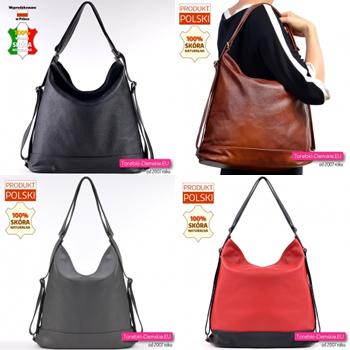 Duża torba skórzana i plecak damski w jednym - wersje kolorystyczne modelu