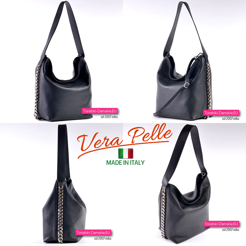 Czarna torebka Vera Pelle z ozdobnymi srebrnymi łańcuszkami na bokach